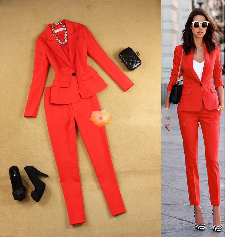 6 Colors 2018 Spring Autumn Women's Solid Color Small Suit Jacket + Pencil Pants Two Piece Ladies Professional Trousers Set