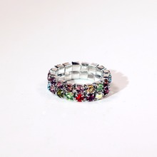 Rainbow Colorful Resizable Ring Elastic 925 Stering Silver Ring CZ Crystal Rainbow Gem toe ring 6mm(China)