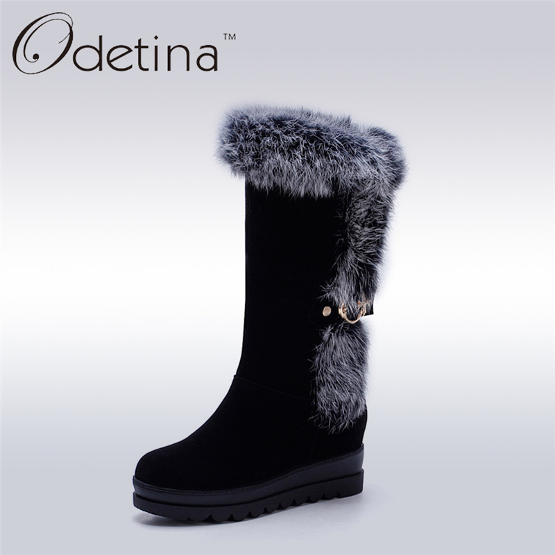 Odetina 2017 Handmade Women Increased Height Fur Snow Boots with Warm Plush Platform Mid Calf Suede Ladies Winter Boots Non Slip<br>