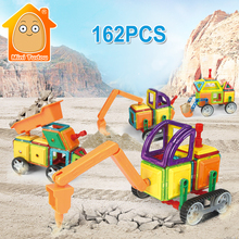 MiniTudou 162pcs Educational Magnetic Assemble Building Tiles DIY Blocks Bricks Construction Engineering Truck Series Toys