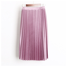 Free Shipping 2017 spring and summer new silk sense of women pleated skirt super soft skirt download 5 color all