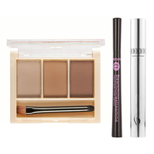 3 Color Eyebrow Powder Eyeshadow Palette With Mirror Double side Eyebrow Eyeshadow Brush Eyelashes Mascara Eyeliner Original Box