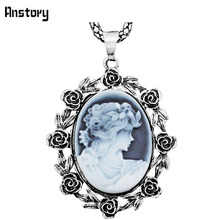"Rose Flower Lady Queen Cameo Pendant Necklace For Women Vintage Antique Silver Plated  Fashion Jewelry 28"" TN132"