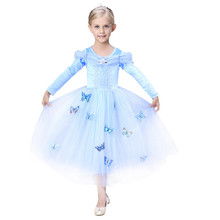 Cinderella Girl Dress Butterfly flower lace children Dresses Tutu Summer Princess Dress baby kids party clothes LONG SLEEVE SUIT(China)