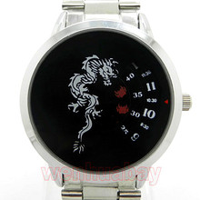 Paidu China Dragon Totem Black Quartz Stainless Steel Band Wrist Watch Mens Boy Digital Turntable Dial Digital Gift Wristwatches