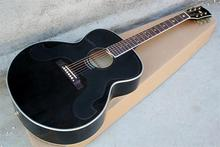 Hot sale Factory Custom full black body G 43 inch Acoustic Guitar with black pickguard,five-stars inlay,can be customized