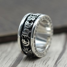S925 Sterling Silver Personality Punk Wind Sanskrit Rotation Men And Women Wide Side Domineering Ring Thai Silver Retro Ring