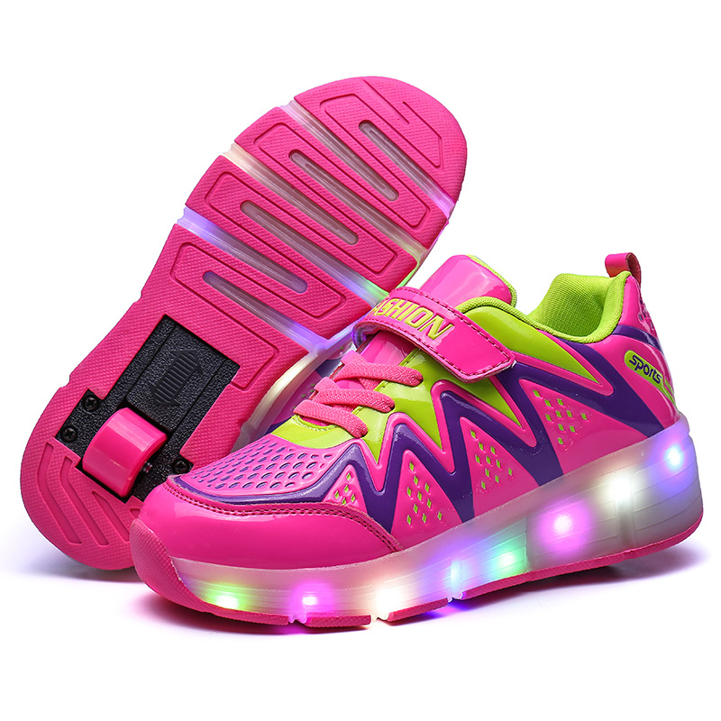 Eur Size 30-40// Kids Light Up Shoes Glowing Luminous Sneakers Wheels Shoes Led Boys Girls Toddler Roller Shoes Tenis Sneakers<br>
