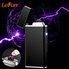 Novelty Double Arc Plasma Cigar Cigarette Lighter USB Rechargeable Flameless Windproof Electronic Pulsed Smoking Lighters