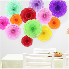 10pcs/Lot 8inch 20cm holiday supplies Paper Fan Wholesale/Retai Tissue Paper Fan Crafts Party Wedding decoration
