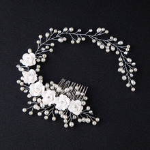Hair Accessories For Women Pearl Flower Hairband Wedding Bride Tiaras Crown Length Headband Noiva Hair pinHair Jewelry Hair Comb(China)
