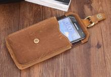 High Quality Crazy Horse leather Waist pack Phone Bag Belt Pouch Holster Cover Genuine leather hand made hasp phone bags