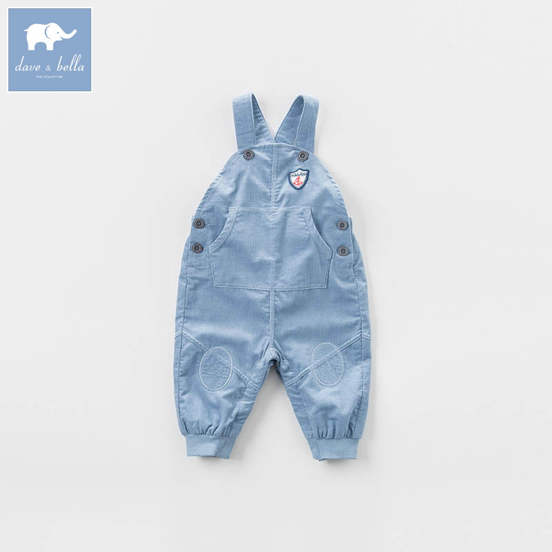 DBZ7249 dave bella spring baby boys fashion denim overalls children toddler jean clothes baby cute overalls<br>