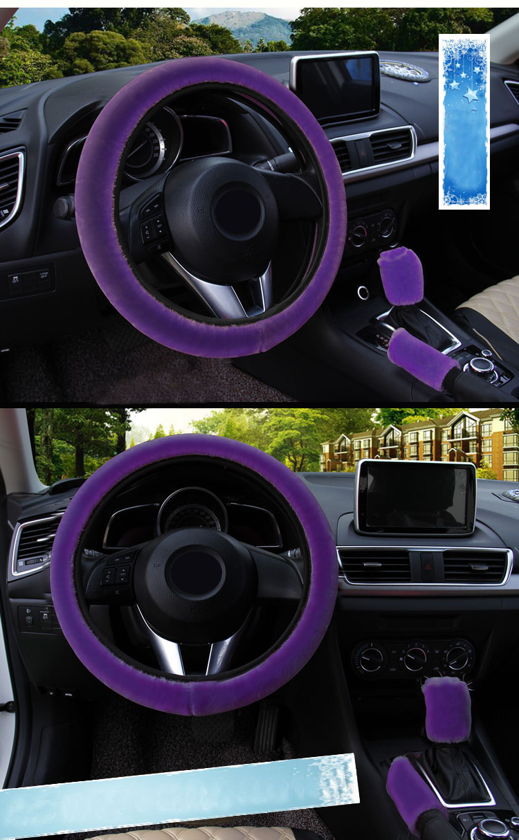 winter Steering Wheel Cover+Handbrake cover + car Automatic Covers / Warm Super thick Plush Gear Shift Collar 12