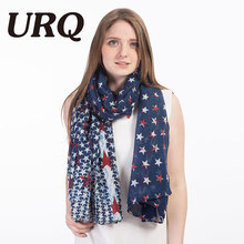 [URQ] New American Flag Scarf USA Flags Viscose Scarves Pashmina Shawls Long Scarf for Lady V7A18800(China)