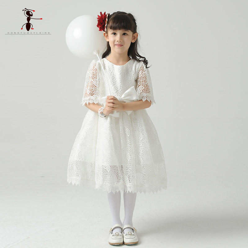 Kung Fu Ant 2018 White Half Sleeve Lace Cute O-neck Cotton Vestido Infantil Kids Clothes Summer Party Dress for Girl B0026<br>