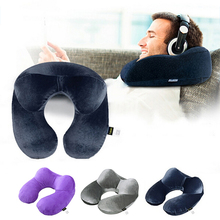 TTLIFE 1pc Inflatable Travel Pillow Air Cushion Neck Rest U-Shaped Compact Plane Flight Rest Pillow Cushion For Car Train Office