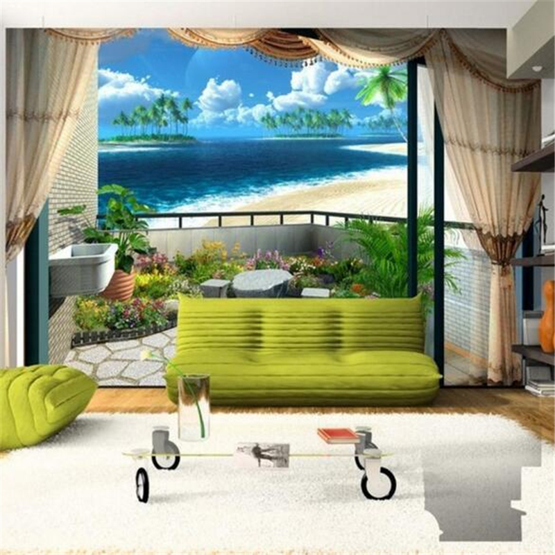 papel de parede Custom Fresco Wallpaper Beach Blue Sky Cloud Stylish Simple 3d Living Room Bedroom Mediterranean Photo Wallpaper<br><br>Aliexpress
