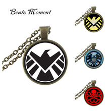 New Agents Of Shield Pendant Necklace Photo Jewelry Round Glass Necklaces Hydra Pendants Men Accesssory Silver Link Chain