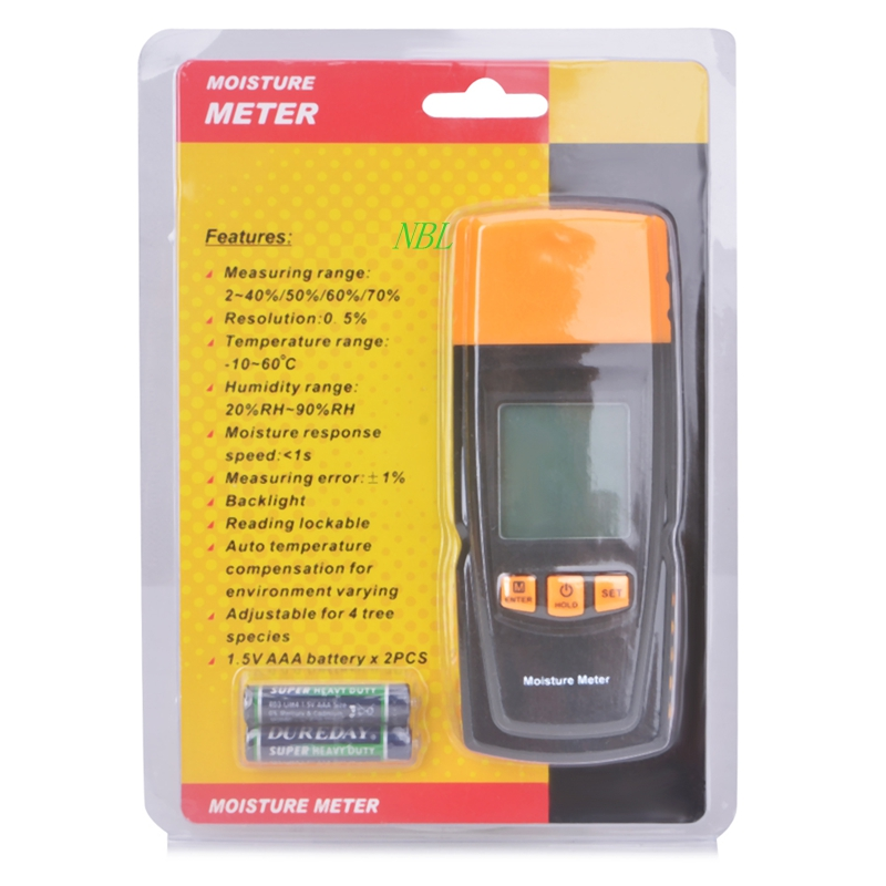Portable Digital Wood Moisture Meter 2 Pin Measure in 4 Tree Species LCD Accuracy Humidity:20%RH~95%RH With Temperature GM610<br><br>Aliexpress