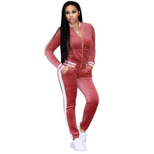 NEW 2 piece suits Velvet Two Piece Set Women Casual Zipper Top Striped Pant Outfits 2 Pcs Suits Fall Sweatsuit Velour Tracksuit(China)