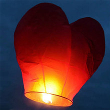 10Pcs Red Heart Shape Flying Sky Lantern with Fuel Block Chinese Kongming Lantern Wedding Birthday Party Propose Wish Articles