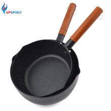 Upspirit Non-stick Japanese Snow Pattern Pan Noodle Cookware Soup Milk Pot with Wood Handle and Pour Spout Electromagnetic Gas(China)