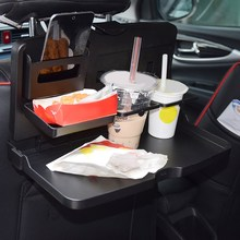 2016 Universal Black Car food tray folding dining table drink holder car pallet back seat water car cup holder(China)