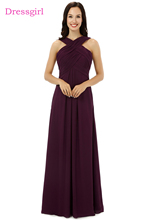 New 2018 Cheap Bridesmaid Dresses Under 50 A-line Halter Floor Length Purple Chiffon Wedding Party Dresses(China)