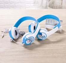 New Stereo Blue Microphone Dingdang Jingle Cartoon Cat Oortjes Large Headphones Headset For A Mobile Phone MP3 Player(China)