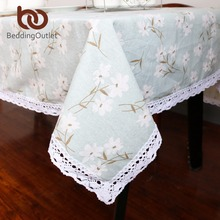 BeddingOutlet Green With White Flower Tablecloth Cotton Linen Dinner Table Cloth Macrame Decoration Lacy Table Cover Elegant