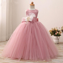 Blusher Pink 2017 Birthday Dress For Little Girls Tutu Gown Flower Girl Dresses With Sash Toddler Pageant Gowns Custom