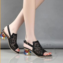 Real Leather Women Shoes High Heel Elegant Lace Pure Color Ladies Joker Various Office T Strap Square Heel Chunky Heel Jewels