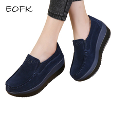 EOFK Women Flat Platform Loafers Ladies Elegant Suede Leather Moccasins Shoes Woman Slip On Moccasin Women's blue Casual Shoes(China)