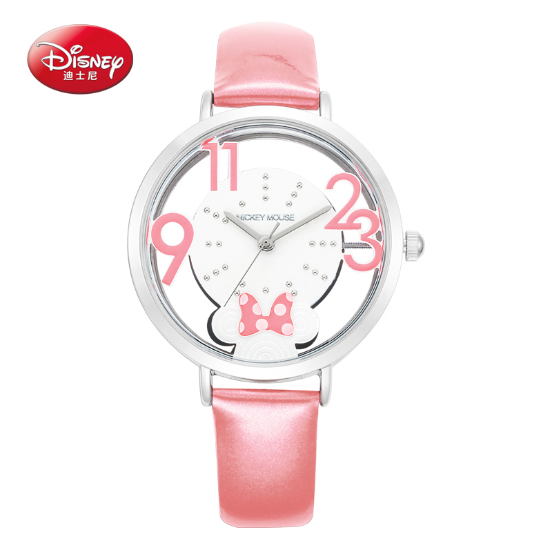 Authentic Disney brand best quality luxury bling rhinestone leather charming watches Women Minnie fashion casual quartz watch<br>