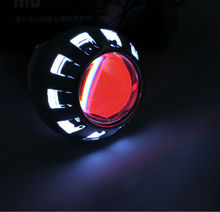 "2.5"" inch 35w Motorbike Lamp High Quality hot sale HID Motorcycle Projector Lens Light with White Angel + Red Devil eyes"