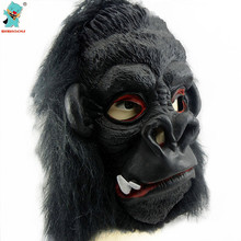 Halloween Tooth Black Gorilla Full Face Mask Scary Mask Halloween Cosplay Horror Masquerade Adult black gorilla mask macka 1pcs(China)