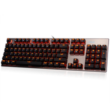 E-3LUE Gaming Keyboard EKM753 Mechanical Gamer Keyboard 104 Keys USB Wired Metal Panel Orange light LED Backlight Game Key Board