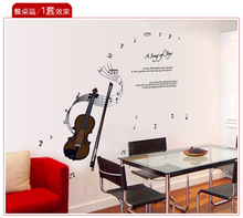 HOT Note the Violin Music classroom children piano's room wall DIY 3D Wall Stickers Bedroom Living Room Children's room Grass