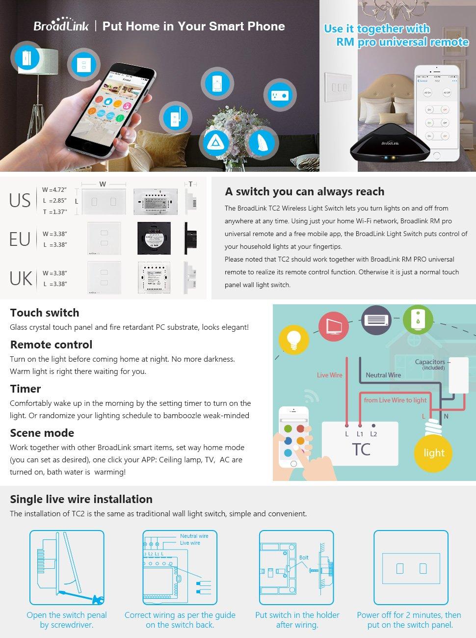2018 Broadlink TC2 US/AU version 1 2 3 Gang WiFi Accueil automatisation Intelligente Télécommande Led Lumière Switche Tactile Panneau via RM Pro + 10