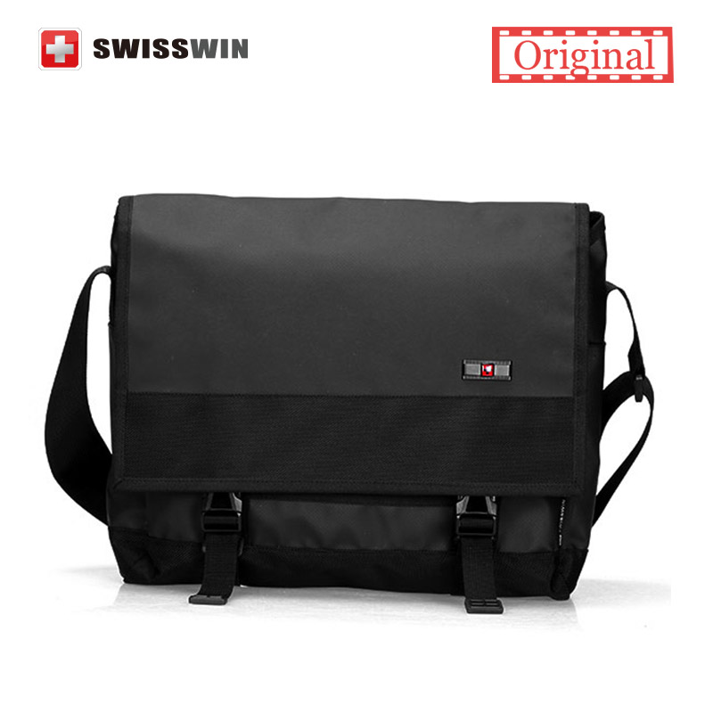 Swisswin Laptop Messenger Bag Men Waterproof Satchel Bag School Military Crossbody Shoulder Bag Black For 13 13.3 14 Computer<br>