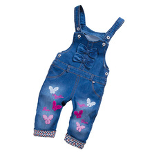 BibiCola Spring Autumn Toddler Baby Girls Strap Bib Denim Trousers Children Cotton Butterfly Pattern Jeans Kids Overall Pants