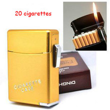 (20 cigarettes)Best automatic metal cigarette case with lighter,men's cigarette lighter box free shipping