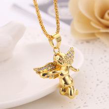high quality angel big golden color luxury design jewelry hip hop necklace chain with pendant for men rope long(China)