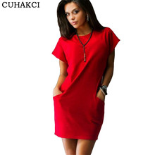 Summer Women Brief Dresses Pocket Woman Red Blue Dress Casual Roupas Batwing Sleeve Simple Mini Dress Fashion Women Clothes S192