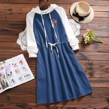 Preppy Style Spring Autumn Women Casual Tunic Hooded Patchwork Letter Print Female Vestidso Long Sleeve Loose-Waisted Dress S-XL(China)