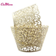 12Pcs Wedding Cupcake Wrappers Cloud Hollow Out Cake Paper Birthday Party Decoration Laser Cut Baking Cup(China)