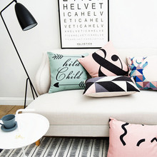 Pink Cushion Cover Home Decor Geometric Decorative Pillow Case Nordic Style Sofa Throw Pillows Covers Black Blue Cushion 45x45cm(China)