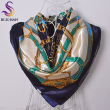 Ladies Blue White Square Scarves Wraps Printed Spring Autumn Apparel Accessories Female Silk Scarf 90cm Brand Chain Satin Scarf
