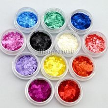 wingood88 nail art store 12 PCS Acrylic Nail Art Round Glitter Sequins Set For Nail Tips Decoration Tool  free shipping